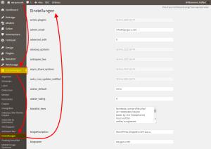 Alle WordPress-Einstellungen anzeigen