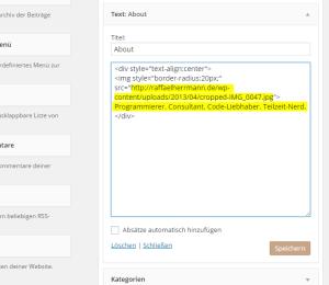 Autorbox Text-Widget Code